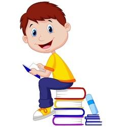 Boy cartoon reading book vector