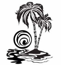 Palm trees in the sea vector