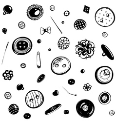 Buttons and needles seamless pattern ink drawing vector