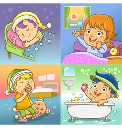 Child routine bed room vector