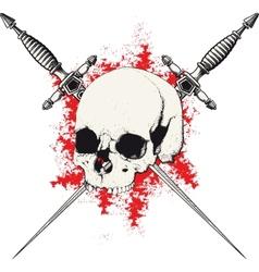 Skull and dagger red vector