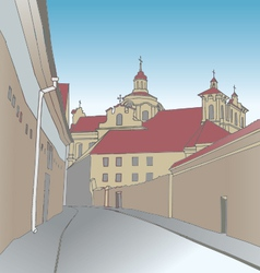 Old town scene with catholic church vector