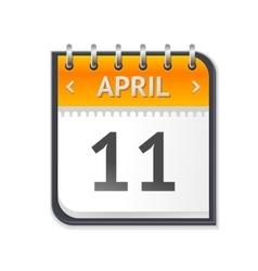 Calendar april eleven flat design vector