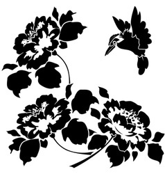 Asian wallpaper with flowers and birds seamless vector