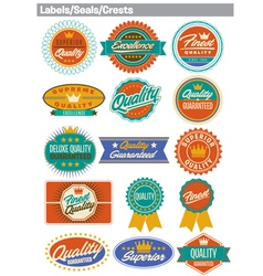 Labels seals crests vector