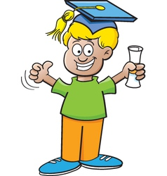 Cartoon boy holding a diploma vector