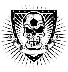 Soccer skull shield vector