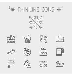 Ecology thin line icon vector