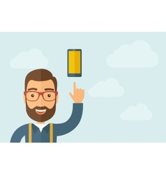 Man pointing the smartphone icon vector