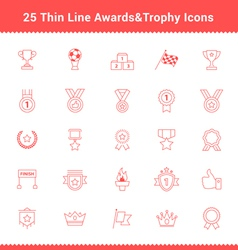 Set of thin line stroke awards and trophy icons vector