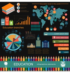 Education school infographics set elements for vector