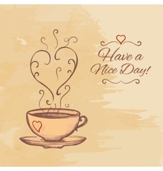Have a nice day background with cup of tea vector