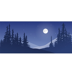 Snowy landscape with moon vector
