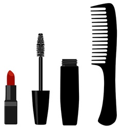 Mascara comb and lipstick vector