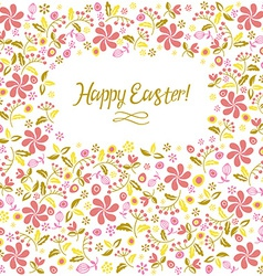 Happy easter card flowers vector