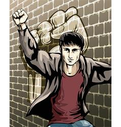 Protesting boy vector