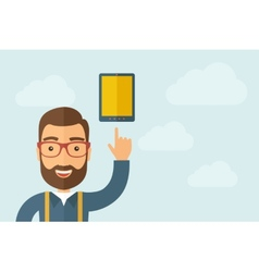 Man pointing the touch screen tablet icon vector