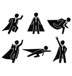 Super businessman stick figure pictogram vector