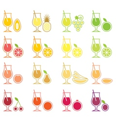 Fruit juice icon set vector