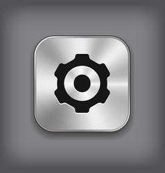Gear icon - metal app button vector