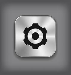 Gear icon - metal app button vector