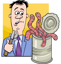 Open can of worms saying cartoon vector