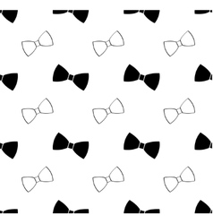 Seamless black and white bow tie pattern vector