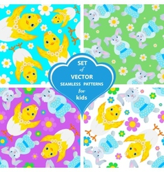 Set of patterns with rabbits flowers and vector