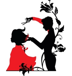 Barber and a girl vector