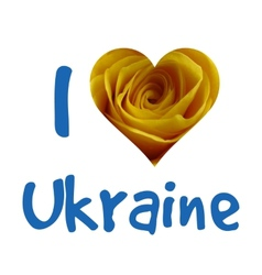 I love ukraine silhouette of ukraine with yellow vector