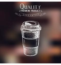 Hand drawn doodle sketch vintage paper cup of vector