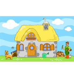 Ancient farm with farmer and animals vector
