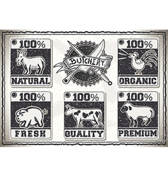 Vintage page for butcher shop labels vector