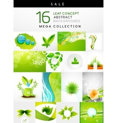 Mega collection of leaf abstract backgrounds vector