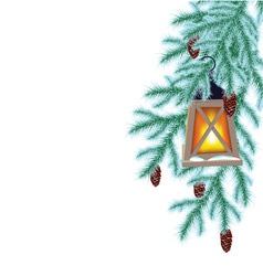 Winter fir and flashlight vector