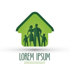 Family logo design template house or happiness vector