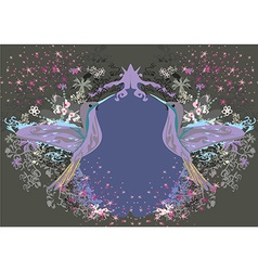 Vintage frame with hummingbird vector