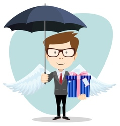 Young man with an umbrella vector