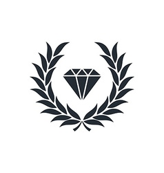 Diamond inside wreath vector