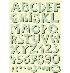 Font set letters and numbers vector