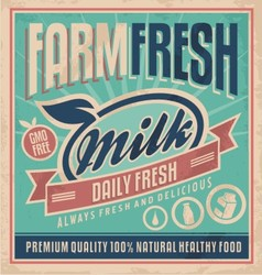 Retro farm fresh milk concept vector