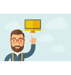 Man pointing the monitor icon vector