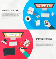 Flat design banners for business creativity vector
