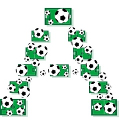 A alphabet football letters made of soccer balls a vector