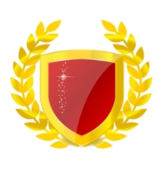 Gold emblem of colorful shield vector