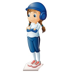 A female baseball player wearing a blue uniform vector