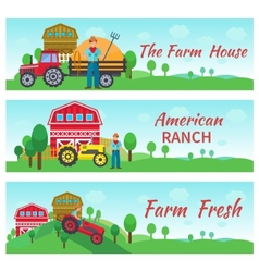 Tractor driver flat banners vector