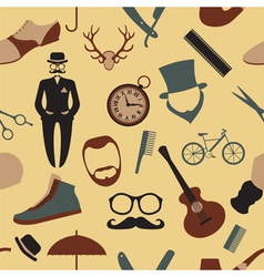 Vintage barber hairstyle and gentlemen background vector