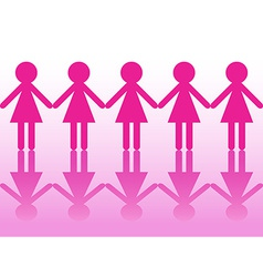 Row of women silhouettes holding hands vector
