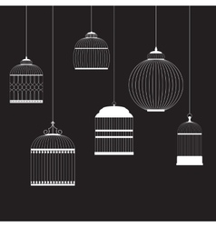 Vintage birdcages silhouettes set vector